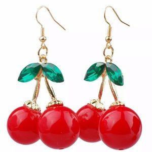 NEW! RED & GREEN CHERRY FRUIT EARRINGS SET